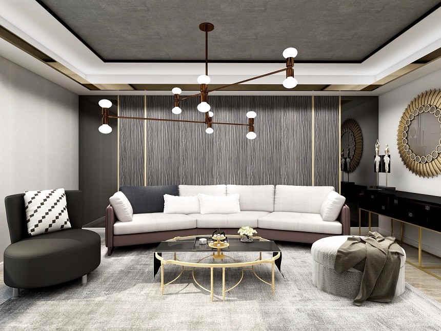 现代简约客厅装修效果图 成都生活家装饰