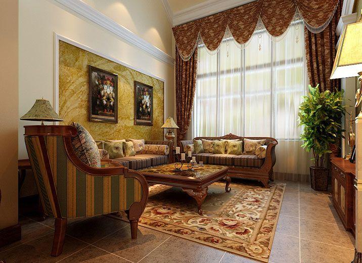 保利林语客厅美式效果图