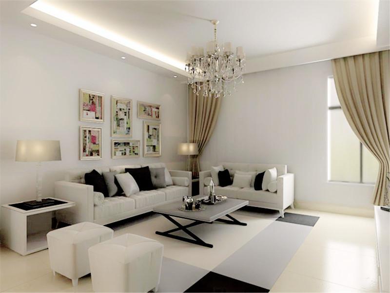 設計說明:客餐廳是用的同色系磨砂大地磚,只在客廳設計了簡單黑白撞色拼花,顯得客廳寬敞明亮。