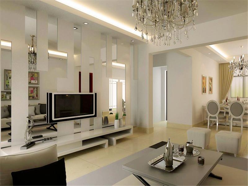 設計說明:客廳最具特色的莫過于這個幾何鏤空背景墻了,這樣設計既有特色又能使空間顯得更開闊。