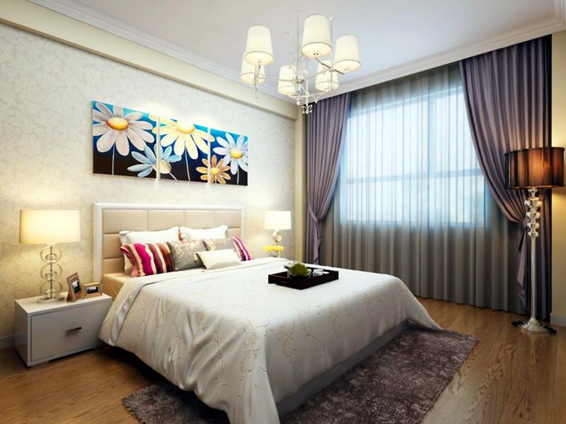 設計說明:臥室沒有做復雜的處理,和墻漆同色系的花紋做裝飾配上生活家實木地板,營造出溫馨的臥室氛圍。