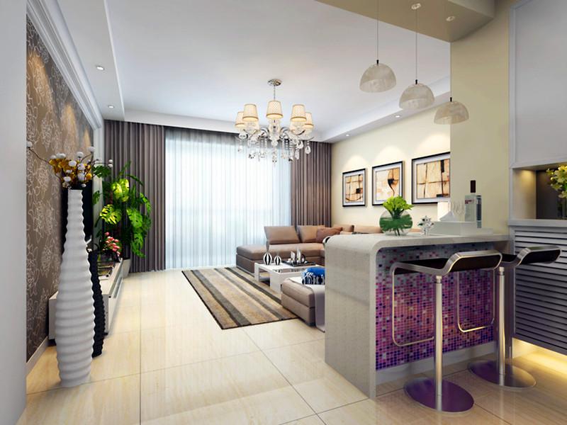 設計說明:吧臺的設計不僅合理利用了空間,還在客廳與餐廳之間起到了過度作用,紫色馬賽克的造型體現了業主對浪漫時尚生活的追求。