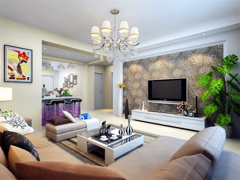 設計說明:客廳采用米色調來營造出一種溫馨雅致的美感,電視背景墻用咖色壁紙突顯造型,以大氣、簡約為基調,不做過多累贅復雜的造型,體現了主人的內蘊品性。