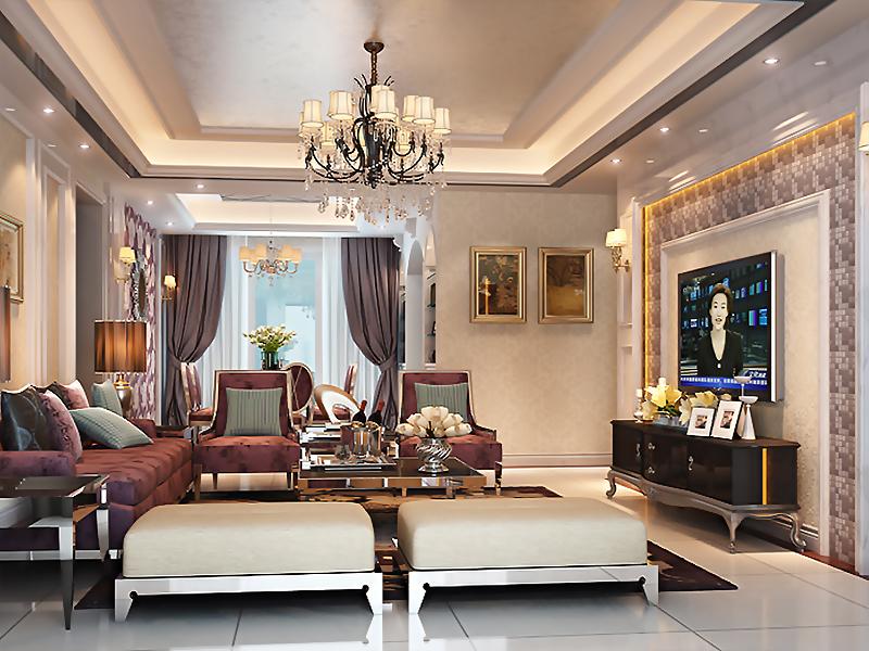 設計說明:本案例的設計風格為簡約歐式,營造典雅、自然、高貴的氣質、浪漫的情調是本案的主題。主體色調明亮華麗且用以暖色調加以協調,客廳里簡單的直線回字形吊頂周圍裝飾燈帶,中心是金屬鐵藝枝形吊燈,簡約的線條卻營造出典雅、自然的氣氛。