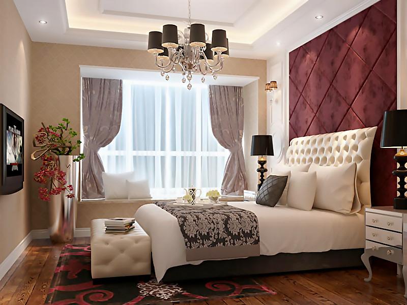 設計說明:臥室的特點是設計師用軟裝材質打造的背景墻,臥室是我們休息的港灣,不需要多大氣,舒適溫馨才是主旨,軟包墻面會更顯柔和,配以實木地板則多了一份自然寧靜。