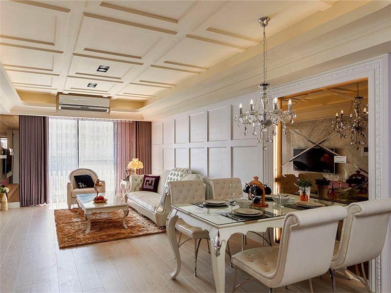 設計說明:本案例客餐廳未用大地磚,全房使用瑞士盧森地板裝飾。