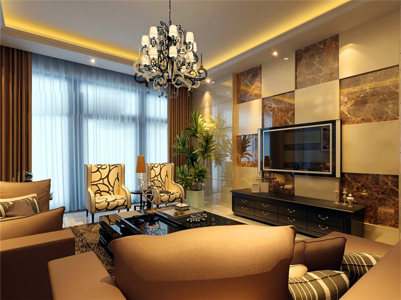設計說明:客廳的電視背景墻和沙發墻都是全房的一個亮點,設計師用兩種不同的墻磚做拼花,醒目又上檔次。