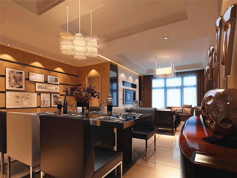 設計說明:餐廳和走道則是用肌理紋路墻紙裝飾,客餐廳做了大面積的吊頂,周圍裝飾上燈槽,燈光打在裝飾畫上,有種迷離的雅致感。