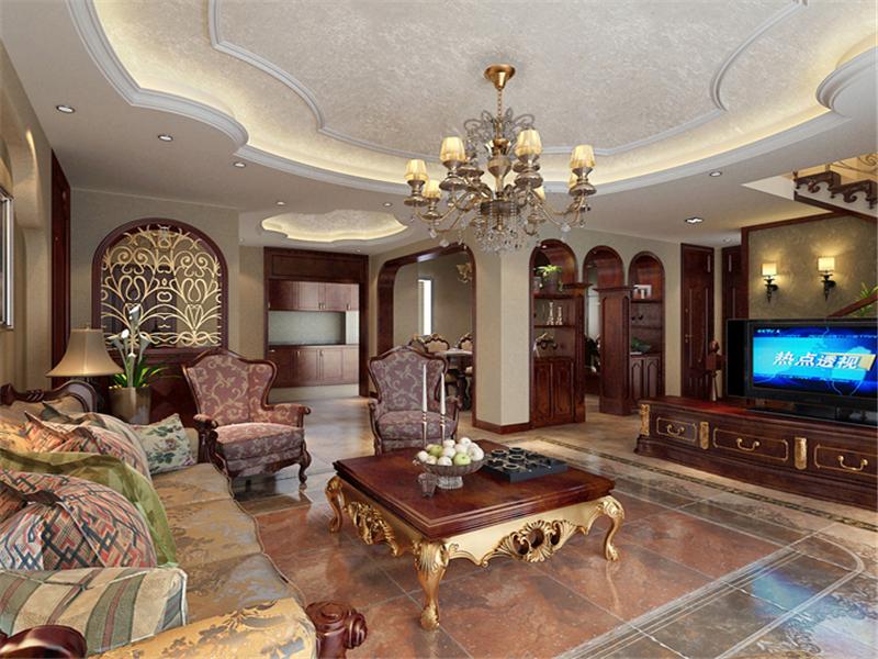 設計說明:客廳屬于開放空間 家人日常生活使用最多的地方 在設計上以3色劃分(天 地 空間) 家具的選用都以古典家具為主。