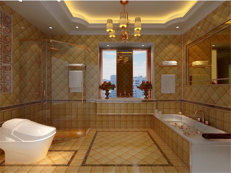 設計說明:設計師用長鏡面和幾何圖形墻磚裝飾衛生間,更加有效的拉寬整體視覺效果。