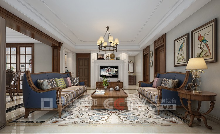 梅园居105平美式风格客厅设计图