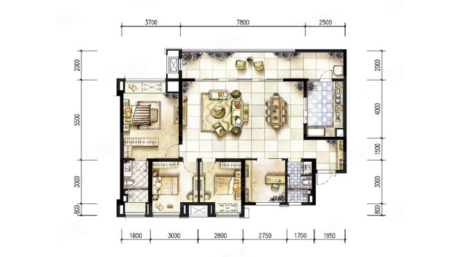 重庆装修公司俊峰香格里拉 | 4室2厅2卫1厨